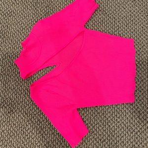 Neon pink cut out top